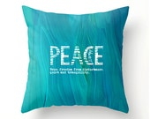 TRUE PEACE - decorative throw pillow, John 14-27, turquoise teal scatter cushion, pillow cover, cushion cover, typography, scripture pillow