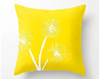Freesia Dandelion Decorative Throw Pillow - bright yellow cushion, pillow cover, cushion cover, dandelion decor, dandelion accent pillow