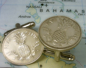 Bahamas  ( Pineapple Nickel - 5 Cents  ) - Genuine Coin Cuff Links - Unique Gift - FREE U.S. SHIPPING - Reduced International Shipping - 5c3