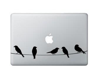 Birds on a wire Macbook Decal - Bird Laptop Decal - Bird Decal