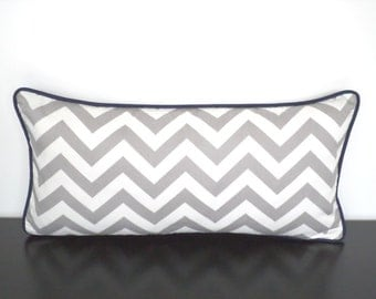 Grey lumbar pillow cover 21x11, chevron pillow for desk chair, geometric cushion gray and blue , gray sofa pillow with piping, gift under 30