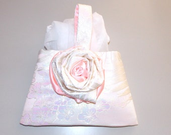 Wedding Purse with vintage KIMONO silk opal brocade embroidery white pink rosette plum blossom feather hand bag made to order