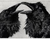 Raven artwork , Raven, crow, Black and White, Love Story,  Etching.