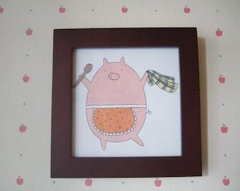 Kitchen Pig - 5x5 Print