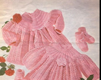 Baby KNITTING PATTERN - 2 Tops Dresses and bootees/booties 16, 18 and 20 inch chest