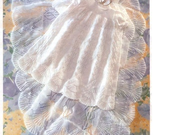 Baby Knitting Pattern PDF - Christening robe and shawl - Heirloom quality 3 ply - Fits up to 9 months