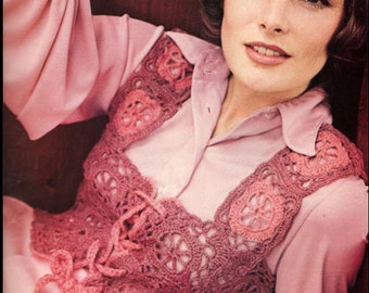 REDUCED - Crochet Pattern - Vintage Retro Crochet Pattern - Victorian Vest Motif/Squares PDF