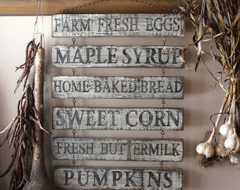 Custom Primitive Aged Farm Stand Menu Wood Sign with Rusty Chain