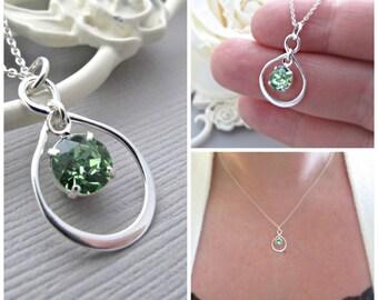 Peridot  Necklace, Peridot Birthstone Necklace, Mom Necklace, Infinity Necklace, August Birthstone, Birthday Gift, Sterling Silver Jewelry