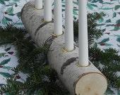 Advent Season Candle Holder Yule Log Birch Natural Christmas