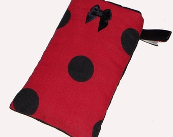 Red Black Polka Dot Mobile Cellphone Ipod Gadget Case Pouch Sock PADDED - Gift Idea