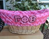 Deluxe Laundry Basket liners for Girls or Boys Baby showers gift basket Basket liners Personalized Greek Letters