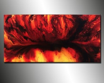 Contemporary Abstract Painting ,Oversize Original Modern Red Abstract Fine Art By Henry Parsinia Large 48x24