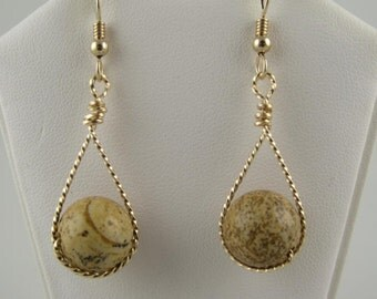 WSE-0077 Picture Jasper Gemstone Handmade Earring Wire Wrapped with14k Gold Filled  Wire