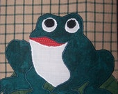 Cute Appliqued Frog-Welcome To My Pad Kitchen Tea Towel