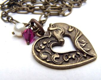 Horse Necklace Horse Jewelry Gift for Her Graduation Bridesmaids JewelryHorse Lover Friend Swarovski Valentines Necklace Valentines Day