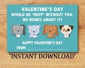 INSTANT DOWNLOAD - Kid Valentine - Classroom Valentine  - Blank Valentine - Puppies - Mini Valentine