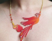 Phoenix Necklace with red orange gold flames