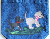 blue jean tote bag with painted patriotic dog design