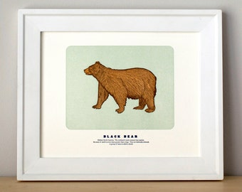 Black Bear, Illustrated, Letterpress Art Print