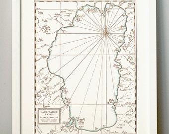 Lake Tahoe Basin Letterpress Printed Map
