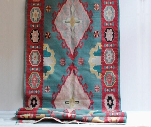 Caucasian Kilim Rug: Vintage Caucasian Kilim Kelim Runner Rug / 8' X 3