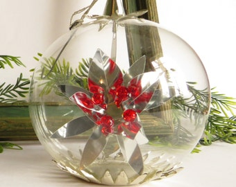 Vintage Resl Lenz Tree Ornament Silver Foil Star with Ruby Beads German Collectible Glass Bulb