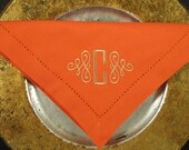 Six Monogrammed Napkins in a Scroll Font Design