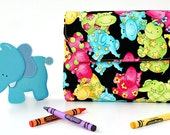 Bright Animals Deluxe Crayon Wallet, Ready to ship, Includes crayons and paper pad, Crayon holder, Toddler toy, Art wallet, Coloring toy