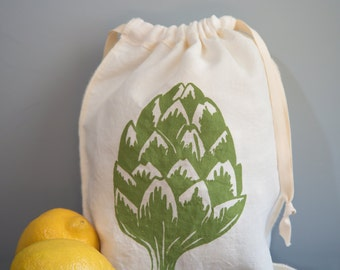 Organic Linen Drawstring Bag,  Cloth Gift Bag ,  Bread Bag , Produce Bag , Knitting Bag , Screen Printed with Artichoke Design