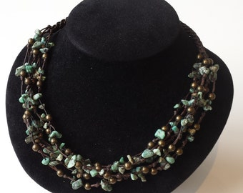 Genuine blue green turquoise multistranded necklace