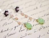 Mint and Purple Chandelier Earrings, Purple Green Beaded Earrings, Long Unique Dangle Earrings, Artisan Earrings, Handmade Beaded Earrings