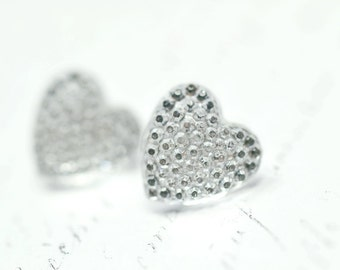 Silver Heart Earrings, Sparkly Stud Earrings, Valentine's Day Jewelry, Faux Druzy Crystals Post Earrings, Heart Shaped Studs, Silver Studs
