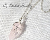 Rose Quartz Crystal Necklace, 18 Inch Wire Wrapped Pink Stone Necklace, Love Stone, Healing Crystal Necklace