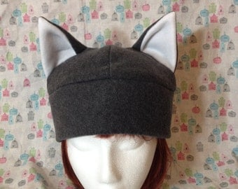 Fleece Wolf Hat in Natural Colors