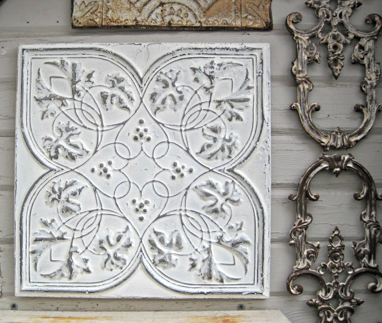 Antique Ceiling Tin Tile Circa 1910 Framed