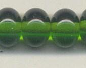 10mm, Tom's lampwork transparent dark grass green spacer beads,  10 beads set, plus 2 free 98818