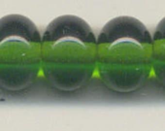 Tom's lampwork transparent dark grass green spacer beads 10mm, 10 beads set, plus 2 free 98818