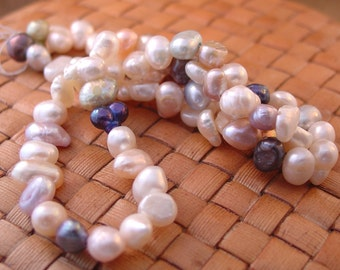 SALE:  14 in strand 6-8 mm Freshwater Pearls, Multi-colored, flat sided potato shape - 50% Off