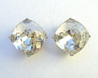 Designer Earrings Crystal Rhinestone Silver Tone Clip On Large Vintage KJL