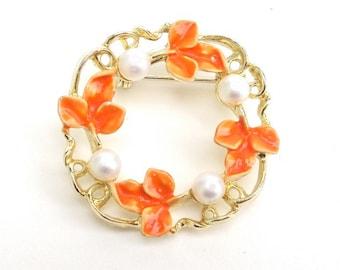 Vintage Brooch, Orange Enamel & Faux Pearls,Signed