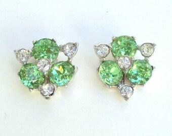 Designer Earrings, Green Rhinestones, Clear Rhinestones, Screw Back, Vintage, Signed
