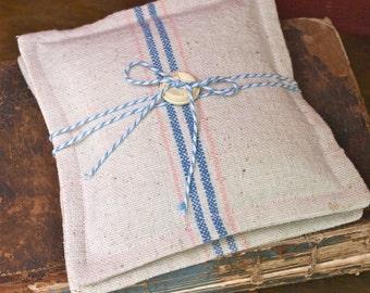 Vintage Grain Sack Lavender Sachets