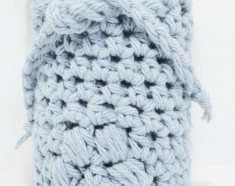 Denim Blue Crocheted Soap Bag Soap Saver Cotton with Drawstring by Distinctly Daisy