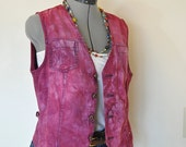 "Raspberry Large Denim VEST - Dark Red Wine Hand Dyed Upcycled Tommy Hilfiger Denim Vest - Adult Womens Juniors Large (38"" chest)"