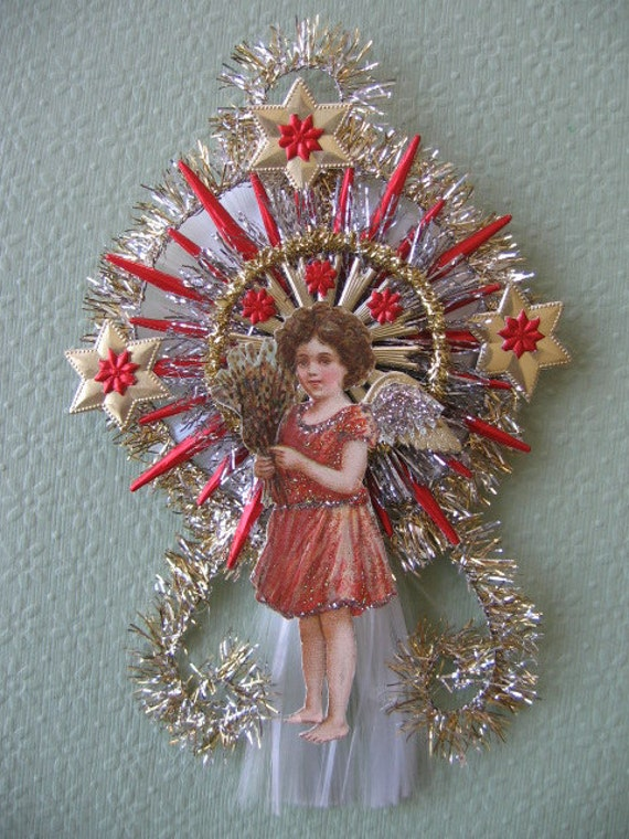 Vintage look angel christmas ornament victorian vtg