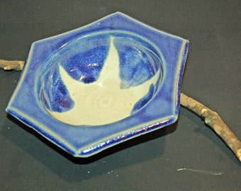 Ceramic Bowls, Hexagon Pottery Bowl, Blue and White, Ice Cream Bowl, Ceramics and Pottery