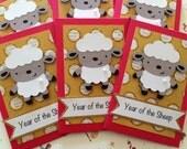 Set of (6) - Little Sheep Red Envelopes Gold