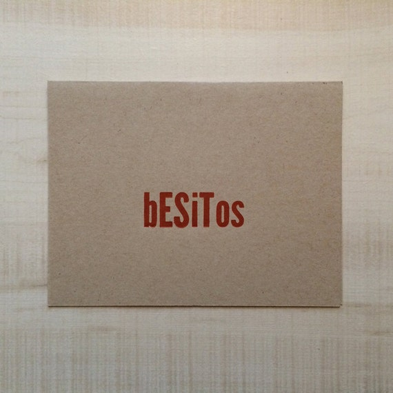 Besitos Kisses Greeting Card Spanish Card Blank Note Card