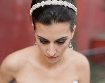 Lilia Rhinestone Headband, Grecian Headpiece, Wedding Hair Accessory, Crystal Beaded Headband